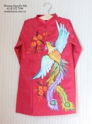 Áo dài vẽ cho bé hình con Phượng màu đỏ