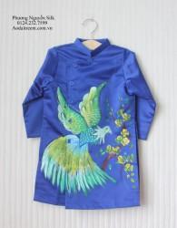 Áo dài vẽ tay cho bé trai con chim đại bàng