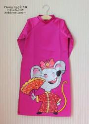 Áo dài vẽ tay cho bé GÁI con chuột cầm quạt