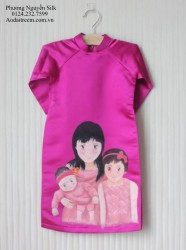 Áo dài vẽ cho bé gái hình chân dung theo yêu cầu khách hàng