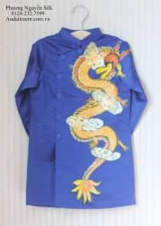 Áo dài vẽ cho bé trai hình rồng thăng long màu xanh