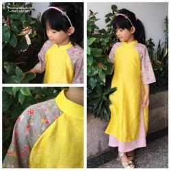 Áo dài cách tân cho bé gái màu vàng