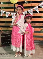 Áo dài cách tân màu hồng cho bé gái