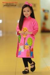 Áo dài cách tân cho bé vẽ ngôi nhà hồng