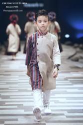 Áo dài bé trai  Linen kem fa  thổ cẩm XTRC.08