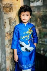 Áo dài cho bé trai Tafta xanh vẽ cò BT1721
