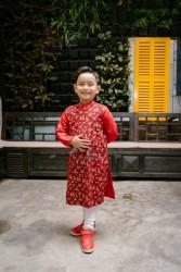 Áo dài trẻ em Phương Nguyễn Silk - Áo dài cách tân cho Trai Trung thu 2018 - Thô hoa đào nhí phối Linen phi lụa đỏ
