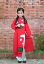 Áo dài trẻ em cách tân cho bé gái Voan lụa đỏ thêu sen BG1812