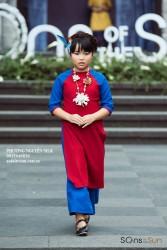 Sét áo dài linen đỏ phối xanh cho bé gái
