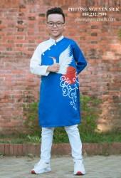 Áo dài trẻ em Phương Nguyễn Silk - Áo dài cách tân cho bé trai - Mẫu Phi Xanh Phối Trắng Vẽ Con Hạc Mặt Trời