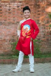 Áo dài trẻ em Phương Nguyễn Silk - Áo dài cách tân cho bé trai - Mẫu Phi Đỏ Phối Đồng Vẽ Cá Mặt Trăng