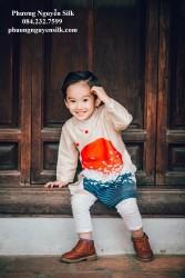 Áo dài trẻ em Phương Nguyễn Silk - Áo dài cách tân cho bé trai - Mẫu In Mặt Trời Sóng Biển