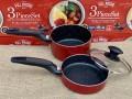 Set 2 nồi chảo 16cm kèm nắp đậy dùng được bếp từ (màu đỏ)