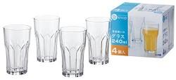 Set 4 cốc thủy tinh 240ml họa tiết pha lê