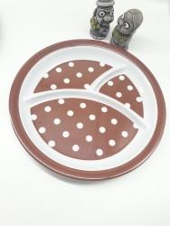 Khay ăn chia 3 ngăn cho bé họa tiết chấm bi, dáng tròn màu nâu