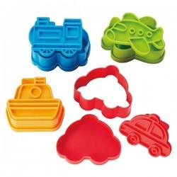 Set 4 khuôn tạo hình đồ ăn M'sa (mẫu phương tiện giao thông)