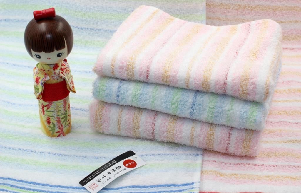 Khăn tắm Nhật Nissen mẫu kẻ sọc (màu cam, xanh)