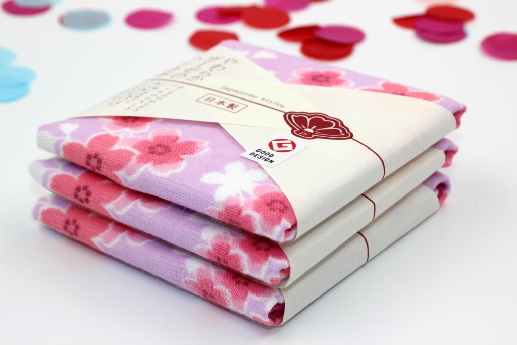 Khăn mặt Nhật Nissen mẫu hoa anh đào (màu hồng tím)