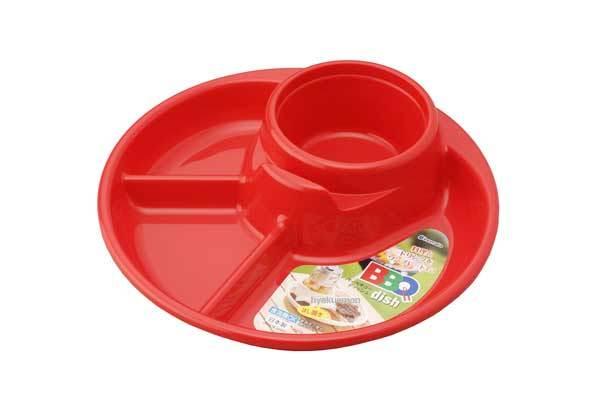 Khay ăn 3 ngăn cho bé có kèm khay để cốc, thìa dĩa - màu đỏ