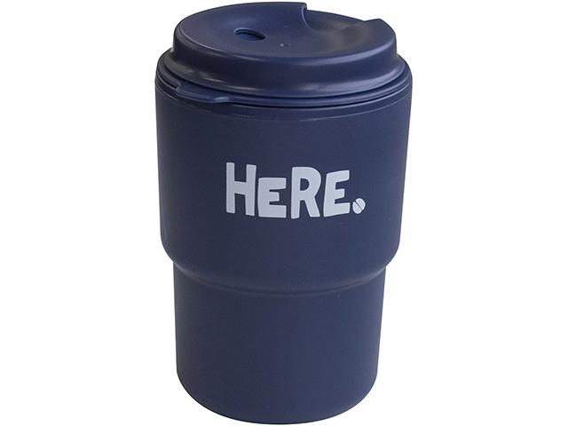 Cốc uống nước kèm nắp xoay có lỗ cắm ống hút (màu xanh navy)