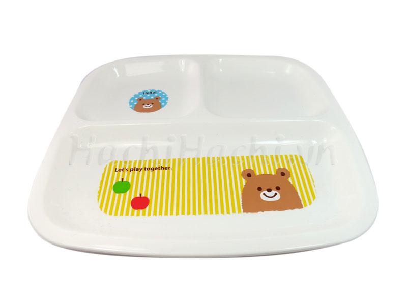 Khay ăn chia 3 ngăn cho bé hình gấu, thỏ