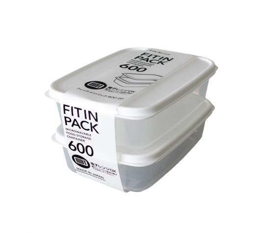 Set 2 hộp nhựa nắp dẻo 600ml (màu trắng)