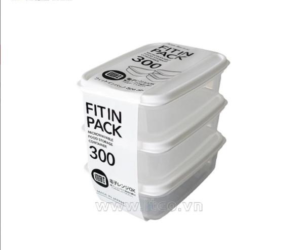 Set 3 hộp nhựa nắp dẻo 300ml (màu trắng)