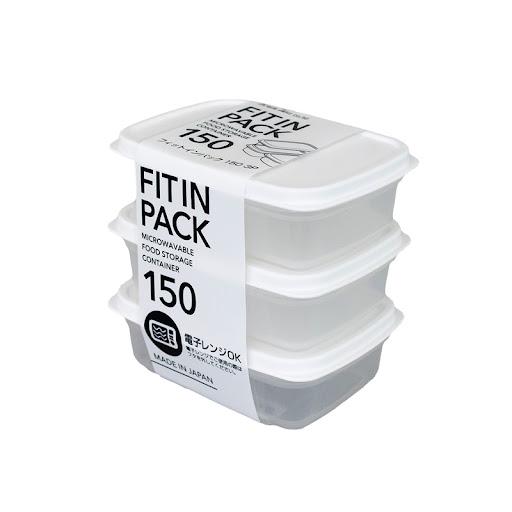 Set 3 hộp nhựa nắp dẻo 150ml (màu trắng)