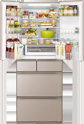 Tủ lạnh Hitachi R-HW60N(XN). (vàng cát) thiết kế 6 cánh cửa với mặt gương pha lê